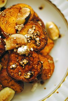 Sweet potatoes and Goat Cheese with Figs