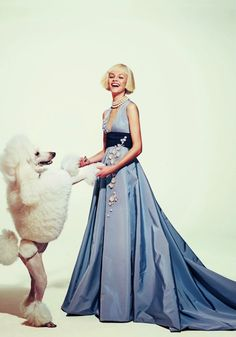 """""""Heavenly Creatures"""": Ginta Lapina and Dogs by Sebastian Kim for Neiman Marcus March 2015"""