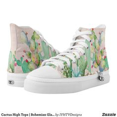 Cactus High Tops | Bohemian Glam Cactus - Canvas-Top Rubber-Sole Athletic Shoes By Talented Fashion And Graphic Designers - #shoes #sneakers #footwear #mensfashion #apparel #shopping #bargain #sale #outfit #stylish #cool #graphicdesign #trendy #fashion #design #fashiondesign #designer #fashiondesigner #style