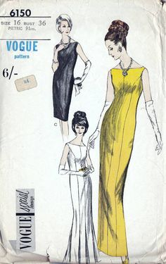 60s Vogue evening dress, sewing pattern 6150, Bust 36 inches, full length evening gown pattern. One piece evening dress: Princess seamed evening dress