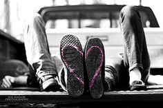 engagement, love, couple, heart, wedding, photography, black and white, pink, shoes, truck