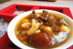 The palatable stewed pork heart and gorgon fruit soup with dwarf winter wheat is a common dish in Guangdong province. Fruit Soup, Cantonese Cuisine, Traditional Chinese Medicine, Dwarf, Chinese Food, Pot Roast, Food Print, Stew, Drinking
