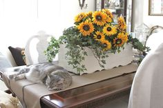 sunflower arrangement with cat . oh so peaceful Sunflower Arrangements, Garden Club, Decorative Accessories, Arts And Crafts, Sunflowers, Common Ground, Cat, Bobs, Amelia