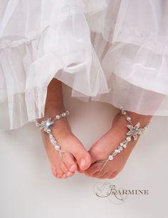 Flower girl barefoot sandals -Baby Starfish barefoot sandal -Girl Beach sandal -Baby Shower Gift- Baptism shoes- Beach wedding -Foot thongs