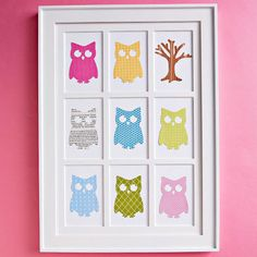 Easy-to-Make Wall Art using your die-cutting tool to cut multiples of your favorite design in coordinating papers. Leftover stickers that you love also will work. Simply fill the 4x6-inch mat openings in a frame.