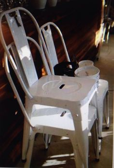 Home Art White Tolik chair. Maybe you can aged them with sandpaper.