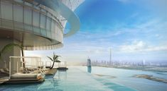 Located on the floor of the soon-to-open Palm Tower in Dubai, this infinity pool will offer fantastic, panoramic views of the city. Dubai, Pool Drawing, Building Management System, Architecture Design, Rooftop Dining, Istanbul Airport, Palm Jumeirah, Residential Complex, Pools