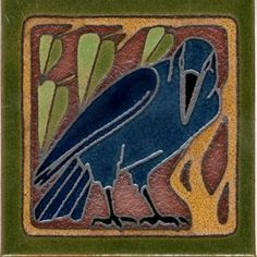 AC Crow Left deco satin-A&C tile (Inspired by the Rookwood Pottery Co. Art And Craft Design, Art Deco Design, Ceramic Tile Art, Art Tiles, Crow Bird, Art Nouveau Tiles, Rookwood Pottery, Raven Art, Arts And Crafts Movement