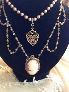 Romantic Victorian inspired assemblage pendant glass pearls shell cameo heart charm