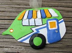 Cute camper ornament is a perfect keepsake! Handmade from polymer clay and designed by me. Comes complete with a ribbon for hanging. Rather have a magnet? Let me know when ordering and I will add one to the back!  Measures approximately 3 H x 4 W Choose your favorite or collect them all