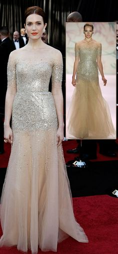 Not really a wedding gown, but by the bridal designer.  Mandy Moore Sheer sequined Monique Lhuillier dress 2011 Oscars