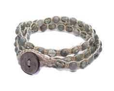 Aqua Terra Jasper and Smoky crystal Macrame, Triple Wrap Bracelet, Double Wrap Anklet, or Single Chain Necklace
