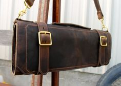 Leather knife roll  Large  Brown by JAWLeatherGoods on Etsy