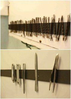 Magnet strip in drawer. Great way to keep your bathroom counter clear!