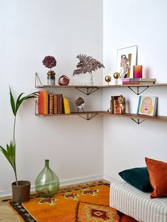 Pythagoras shelves are part of the Pythagoras shelving system. You can find the Pythagoras Brackets here. Mix and match colours to create your own unique wall. Let your creativity go wild or build a sober wall - the Pythagoras collection is made to be unique! The shelf has pre-drilled holes adapted for the Pythagoras Brackets, to anchor the shelf to them. You can of course add shelves and brackets to create a larger shelving system. Do not forget to add the Pythagoras Brackets. Unique Wall Shelves, Large Shelves, Shelf Brackets, Bordeaux, Floating Shelves, Shelving, Create Your Own, Bookcase, New Homes