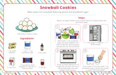 Bake sweet mini snowballs featuring pecans and powdered sugar! Subscriptions For Kids, Subscription Boxes For Kids, Kids Cooking Recipes, Kids Meals, Kid Cooking, Kid Recipes, Baking Classes, Cooking Classes For Kids, Kids Cookbook