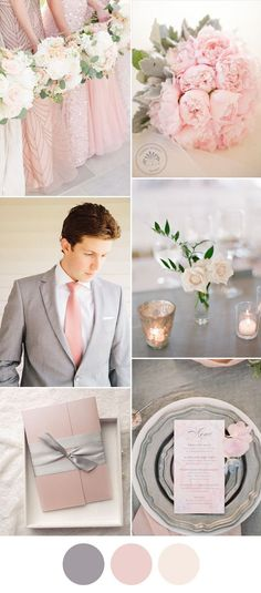 elegant pink and grey spring wedding color ideas