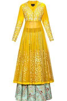 Yellow floral embroidered anarkali kurta and mint green lehenga set available only at Pernia's Pop Up Shop.#perniaspopupshop #shopnow #anjumodi#bajiraomastani #bajiraomastanithefilm#partyseason #happyshopping #designer #clothing