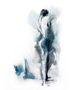 Tirage d'art de la peinture aquarelle originale femme nu l'aquarelle Art abstrait 12.5x19 cm