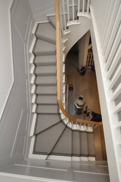 Wool Loop carpet Stair Runner with striped binding tape, templated to winding stairs by Bowloom Ltd.