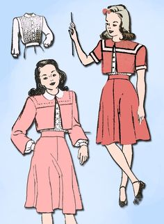 1940s Vintage New York Sewing Pattern 999 WWII Little Girls Suit Size 10 28 B