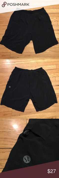 Lululemon men's black workout shorts - XL Lululemon men's black workout shorts - XL. Waist - 15 inches. Rise - 11 inches. Inseam - 9 inches. Great condition except that liner has wear. Best for someone that wants to cut liner out. lululemon athletica Shorts