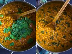 One Pot Spinach Dal- a simple yellow dal made with warming spices, split peas and spinach. A great source of vitamin A, C, iron and plant protein! (vegan + gluten-free)