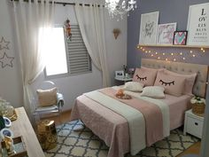 Pink Bedroom Design, Cute Bedroom Decor, Bedroom Decor For Teen Girls, Cute Bedroom Ideas, Bedroom Furniture Design, Girl Bedroom Designs, Room Ideas Bedroom, Bed Design, Sweet Home Design
