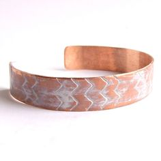 White Washed Patinaed Textured Copper - Cuff Bracelet - Chevron Patina Jewelry - Tribal- Fall Fashion. $40,00, via Etsy.