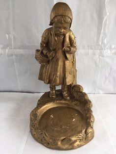 VINTAGE GOLD COLORED LITTLE GIRL PLASTER STATUE 1822 FLOWER POT HOLDER CHALKWARE
