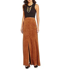 Fornia FauxSuede ButtonFront Maxi Skirt #Dillards