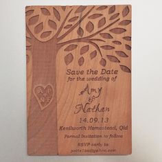 Cute engraved cherry wood save the date Kenilworth Homestead, Fort Collins, Save The Date Cards, Special Events, Dates, Rsvp, Cherry, Invitations, Bride