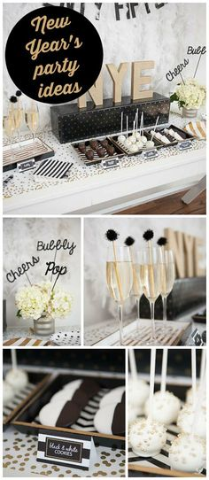 A black and gold New Year's Eve party with chocolate covered strawberries and sparkly cake pops! See more party planning ideas chocolate birthday cakes) New Years Eve Decorations, Party Table Decorations, Holiday Decorations, Birthday Decorations, New Year's Eve Celebrations, New Year Celebration, Nye Party, Gold Party, Silvester Diy