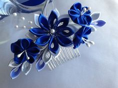 Hair Comb - Royal Blue Cobalt Blue Silver and White Kanzashi Flowers with Pearls - Wedding Flowers, Bridal Headpieces Hair Accessories by LihiniCreations on Etsy https://www.etsy.com/listing/181107216/hair-comb-royal-blue-cobalt-blue-silver