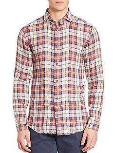 Eleventy Plaid Linen Sportshirt - Red Color - Size 4