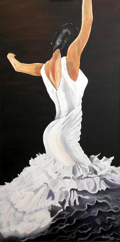 "Oil painting titled ""Flamenco Dancer"",  done on a 24"" x 48"" x 1.5"" canvas.  SOLD"