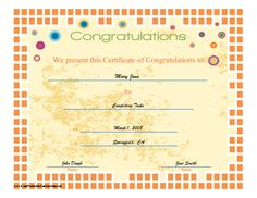 This certificate of congratulation features an orange mosaic border and bright circle accents. Free to download and print