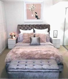 Interessante design-ideen rosa und grau, schlafzimmer weiss grau dekor blush am besten auf ic... Pink And Grey Room, Pink Gray Bedroom, Pink Bedroom Decor, Bedroom Colors, Bedroom Ideas, Pink Room, Cozy Bedroom, Pink Black, Bedroom Vintage