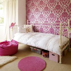 Designing Cute Kids Bedroom with Colorful Decoration Theme: Crem Carpet Mixed Pink Paint Ideas For Kids Bedroom