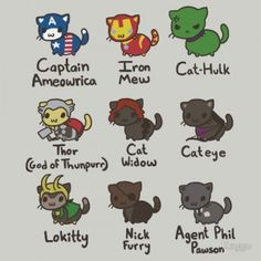 Marvel Drawing What if the Avengers were re-imagined as cute fuzzy kitty cats with the same superpowers of their human counterparts? If so, they might look like this next t-shirt which features our favorite heroes as chibi style kittens in costume. Character Drawing, Comic Character, Marvel Memes, Marvel Avengers, Marvel Funny, Kittens In Costumes, Loki, Thor Cat, Die Rächer