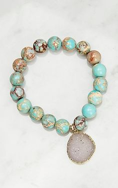 Kori Green Turquoise with Druzy Bracelet Cowgirl Jewelry, Western Jewelry, Cowboy And Cowgirl, Bangles, Bracelets, Green Turquoise, Turquoise Bracelet, Piercings, Jewelry Accessories