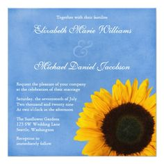 "Yellow Sunflower Blue Sky Wedding 5.25"" Square Invitation Card"