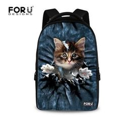 FORUDESIGNS 3D Animal School Backpack Children Denim Owl Wolf Cat Printing  Backpacks For Women Teenage Student Laptop Bags Bolsa 4cf7ca6257da4