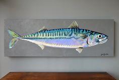 Powered Fish Artwork, Fish Wall Art, Mackerel Fish, Sea Life Art, Seashell Painting, Underwater Art, Fish Illustration, Fish Drawings, Acrylic Art