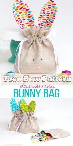 DIY Easter Bunny Drawstring Treat Bag Free Sewing Patterns - - DIY Easter Bunny Drawstring Treat Bag Free Sewing Patterns Sew/No-Sew DIY Osterhase Kordelzug Treat Bag Kostenlose Schnittmuster Bag Patterns To Sew, Sewing Patterns Free, Free Sewing, Easter Projects, Easter Crafts, Diy Easter Bags, Easter Ideas, Sewing Crafts, Sewing Projects