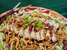 Oriental Chicken Salad from Food.com:   								Very simple but a treat to eat. Always an instant hit.