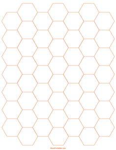 Printable 3/4 Inch Orange Hexagon Graph Paper for Letter Paper Graph Paper, Printable Paper, Pattern Blocks, Free Printables, Lettering, Orange, Patterns, Pretty, Block Prints