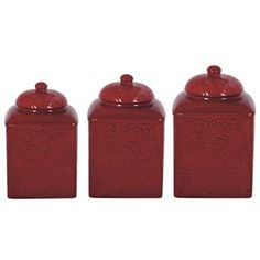 Delectably Yours Red Savannah Canister Set by HiEnd Accents - Matching Dinnerware available  #DelectablyYours Southwestern / Western Kitchen Decor
