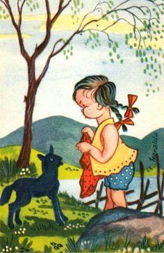 Gratulasjonskort Barnemotiv Harald Øglænd utg Damm 1950-tallet