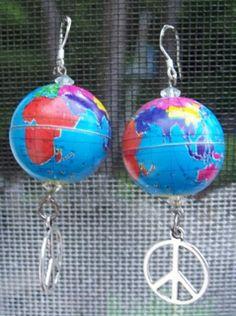 UNIQUE! Peace Sign Metal Globe Earrings Sterling Silver Hooks